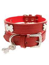 Red Leather Diamante Collar & Diamante Bone Charm - Sparkling Bling Collar! This textured red leather collar with a stitched edging has a crystal encrusted buckle with three large / bling sparkling diamante bones and a large sparkling diamante charm complete the look. A glamorous addition to the wardrobe of any trendy pooch.S-M Width: 14mmM-L Width:...
