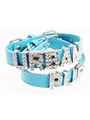 Blue Leather Personalised Dog Collar (Diamante Letters)