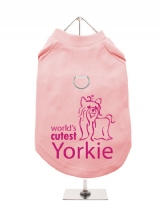''Worlds Cutest Yorkie'' Harness-Lined Dog T-Shirt