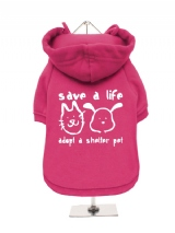 ''Save A Life, Adopt A Shelter Pet'' Fleece-Lined Dog Hoodie / Sweatshirt