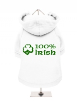 ''St. Patrick: 100% Irish'' Fleece-Lined Dog Hoodie / Sweatshirt