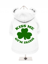 ''St. Patrick: Kiss Me Oim Irish'' Fleece-Lined Dog Hoodie / Sweatshirt