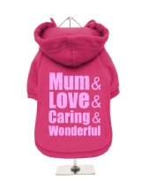 ''Mothers Day: Love, Caring, Wonderful'' Fleece-Lined Dog Hoodie / Sweatshirt